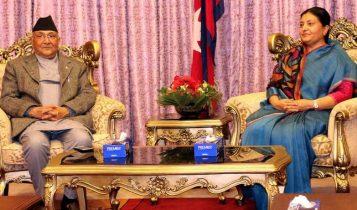 नेकपामा चलखेल सुरु, मध्यरात राष्ट्रपति र प्रधानमन्त्रीबीच भेटवार्ता